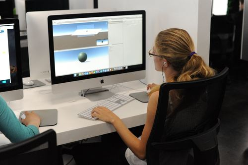 Student working on Unity game